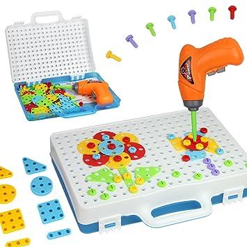 jeu construction mosaique puzzle avec visseuse jouet mosaique tableau pour enfant garon fille 3 4 5