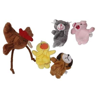 5pcs Conjunto Marionetas de Dedo Juego de Niños Peluche Gallinita Perro Animal Multicolor: Juguetes y juegos