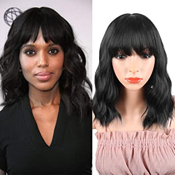 Synthetic Curly Bob Wig with Bangs for Black Women Medium Black Short Curly  Wavy Wig Natural Heat Resistant Fiber Wavy Bob Cut Wigs Shoulder Length
