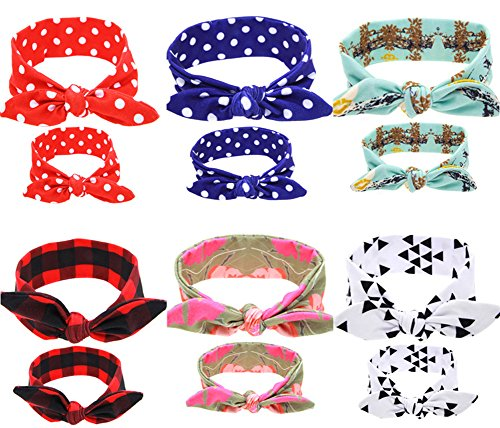 Gellwhu 12PCS Baby and Mom Headbands Bow and Knot Hair Bands Elastic Headwear Matching Mother Baby Clothes