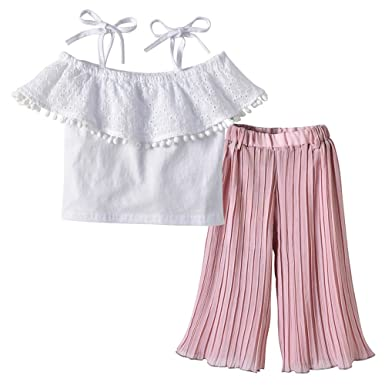 ce7cdf3da23 Amazon.com: XUANOU Kids Sling Top Pleated Pants Two Piece Set Toddler Baby  Girls Straps Lace Off Shoulder Tops Ruffle Pants Sets: Clothing
