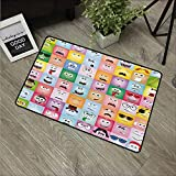 Humor,Floor mats Internet Cartoon Meme Funny Culture Facial Gesture Emotion Icons Digital Illustration W 20' x L 31' Rubber Backing Non Slip Door Mat Multicolor