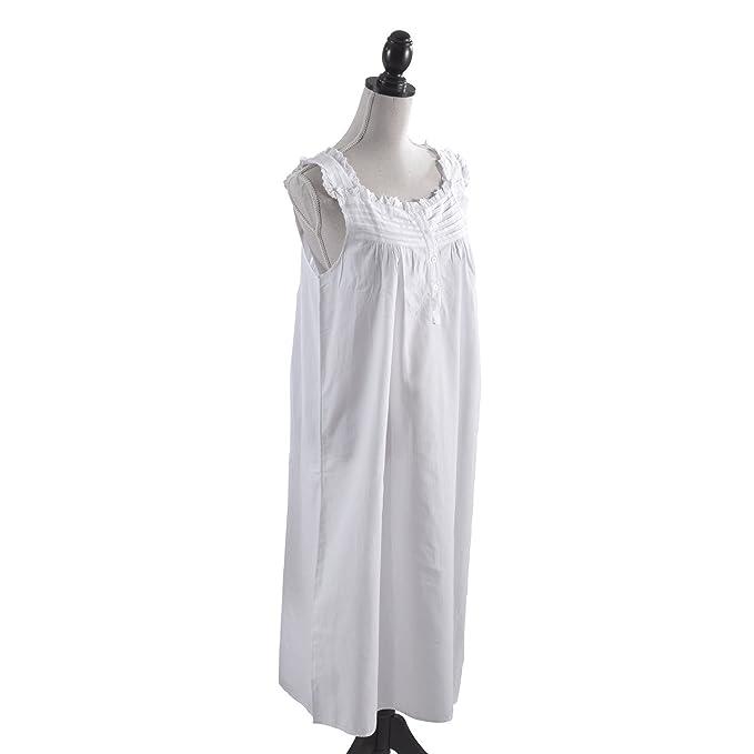 Handmade Women\'s Eyelet Trim Pleated Nightgown White at Amazon ...