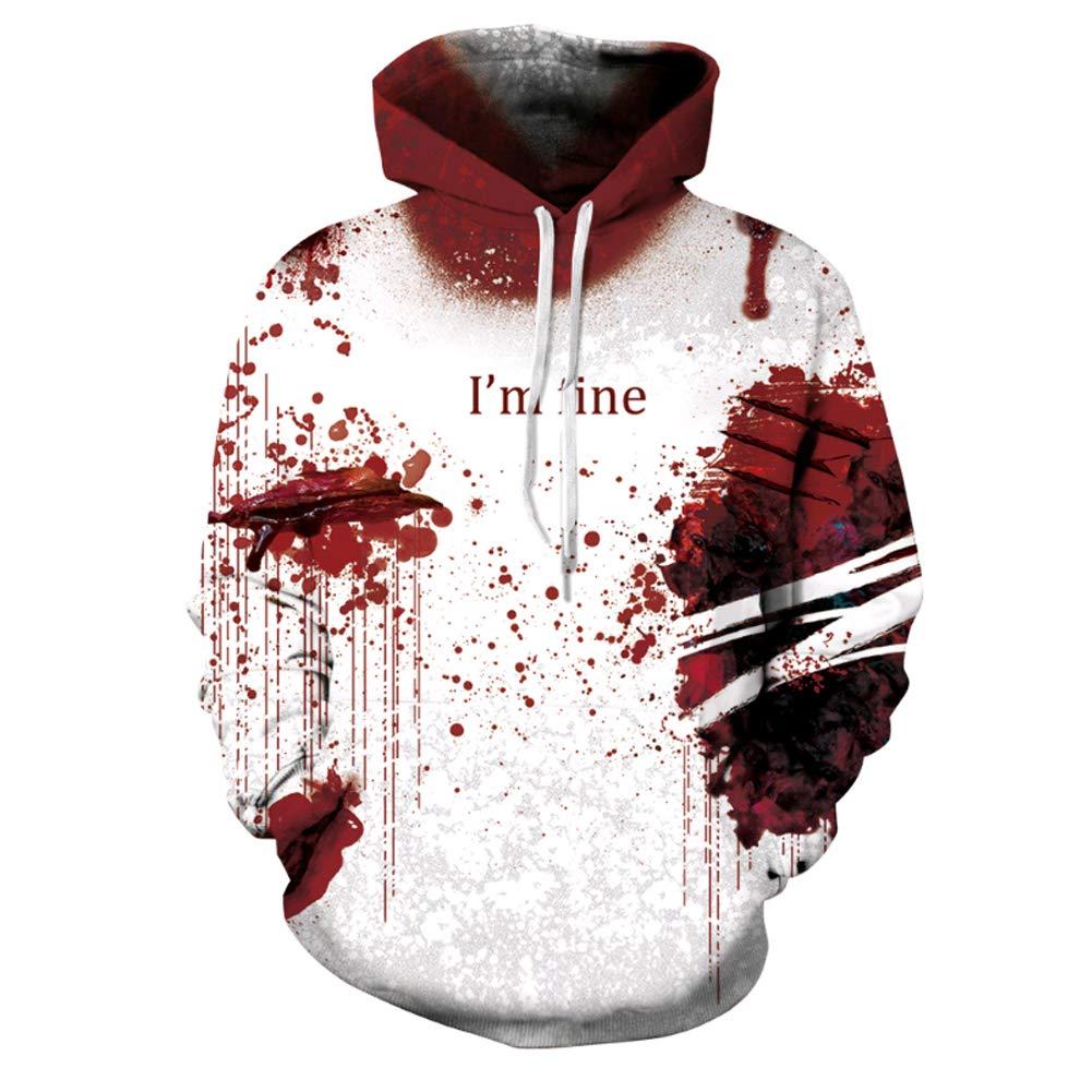U-WARDROB Unisex 3D Print Hooded Long Sleeve Halloween Hoodies Women Men Cosplay Costume Pullover I'm fine red L/XL