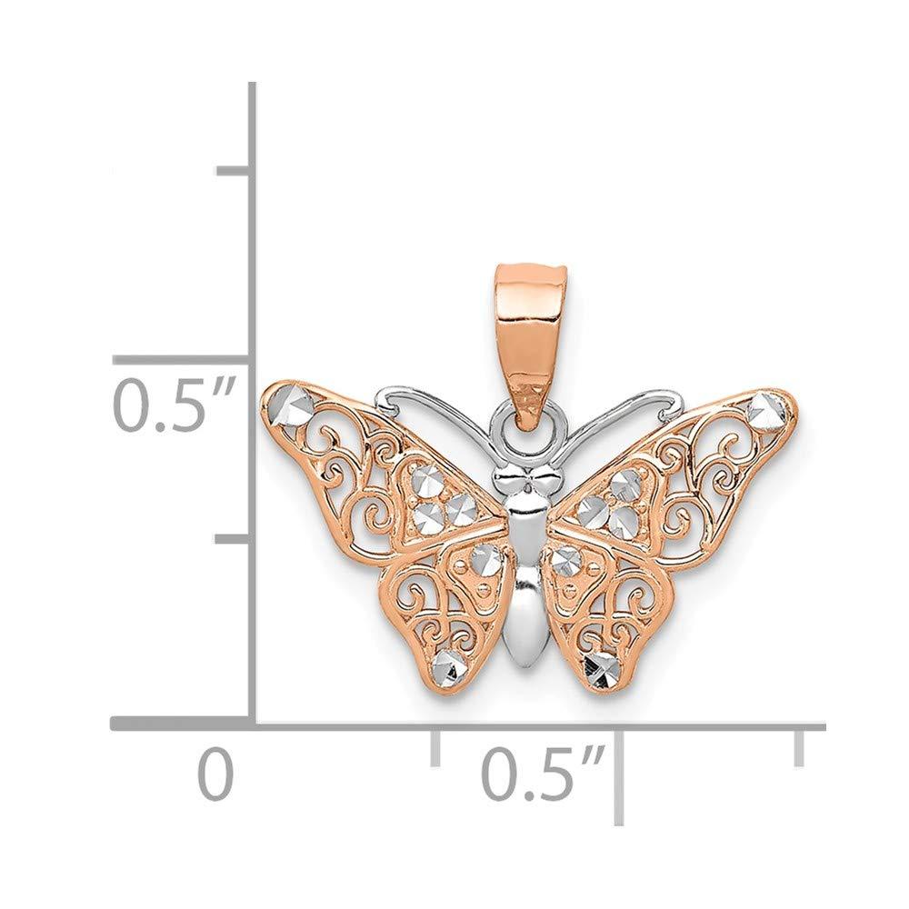 14k Rose Gold /& Rhodium Butterfly Pendant