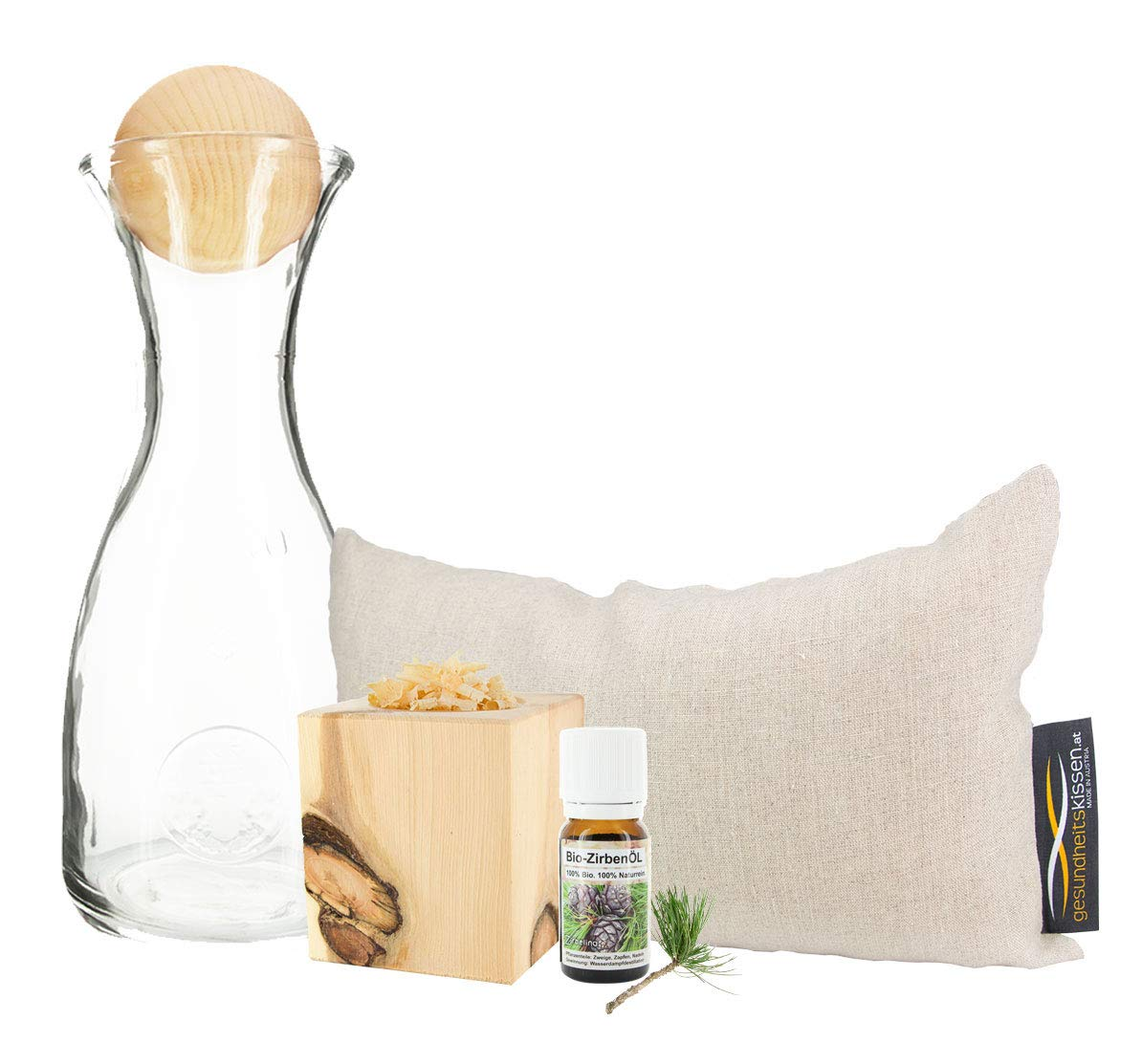 Geschenkbox aus Zirbenholz Produkten zum guten Einschlafen