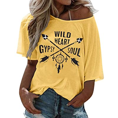 ANJUNIE Women Lady's Tunic Tops Short Sleeve Letter Printed Loose T Shirt O Neck Blouse Tops: Clothing