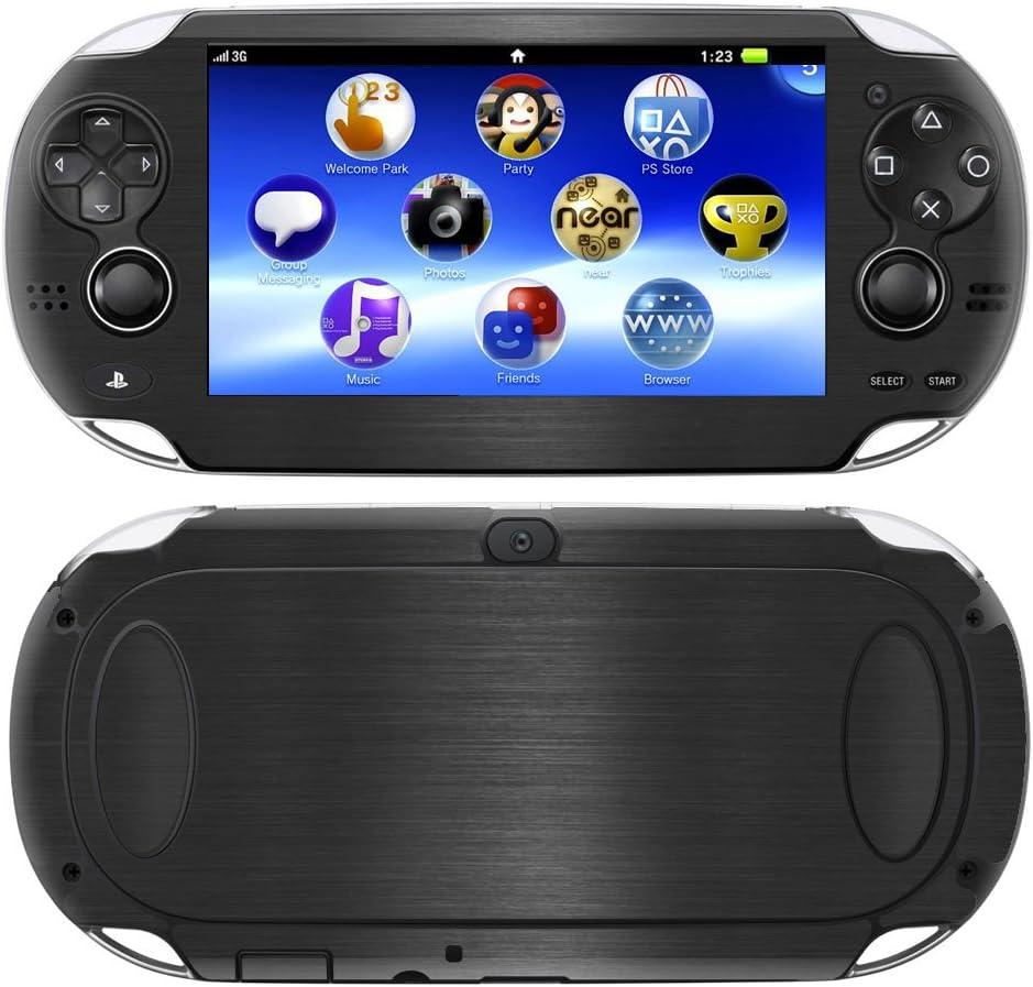 Decalrus - Playstation PSP Vita Black Texture Brushed Aluminum Skin Skins Decal for case Cover wrap BAvitaBack