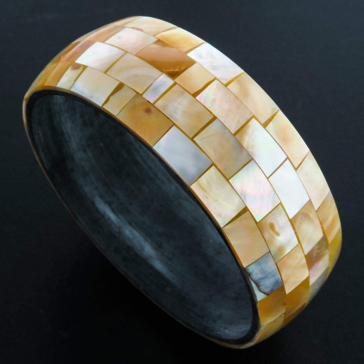 8 Iridescent Wide Gold Oyster Mother of Pearl Mosaic Bangle Bracelet YE-2744 Sale