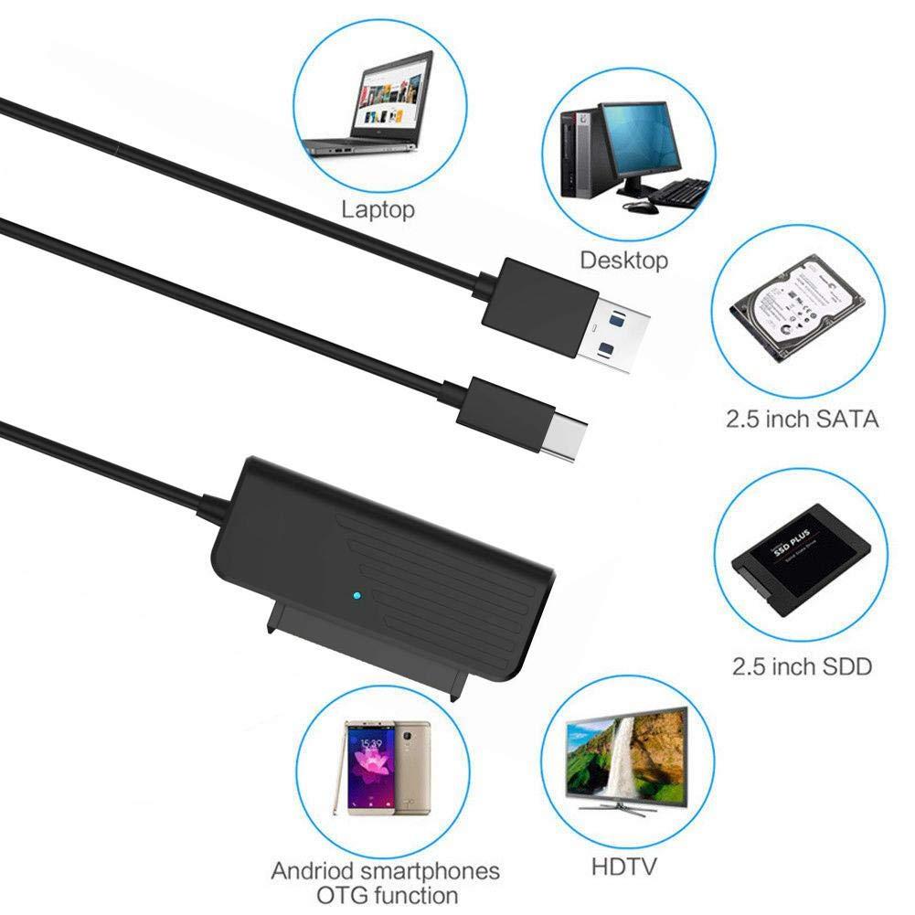 iB/àste C/âble Adaptateur USB3.0-3.1 SATA C/âble de Disque Dur 2,5 Pouces