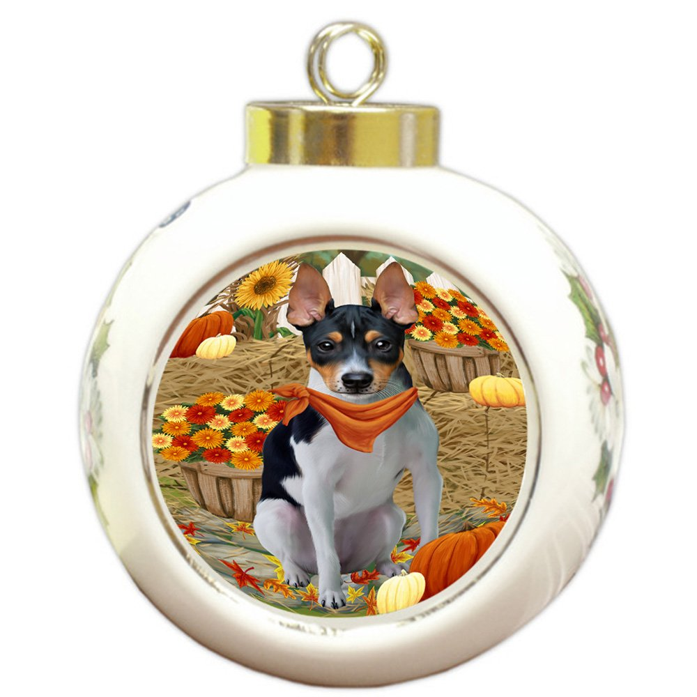Amazon.com: Fall Autumn Greeting Rat Terrier Dog with ...