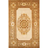 Momeni Rugs MAISOMA-08IVY5380 Maison Collection, 100% Wool Hand Carved & Hand Tufted Traditional Area Rug, 53 x 8, Ivory