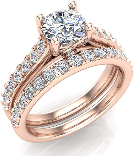 Amazon Com Wedding Ring Set For Women 5 60 Mm Round Cut Solitaire 1 40 Carat Total Weight 14k Gold Gia Certificate Jewelry