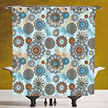 Funky Shower Curtain 3.0 by SCOCICI [ Doodle,Abstract Symmetric Flowers and Dragonflies Saesonal Simple Drawing Summer Decorative,Light Blue Multicolor ] Bathroom Accessories with Hooks