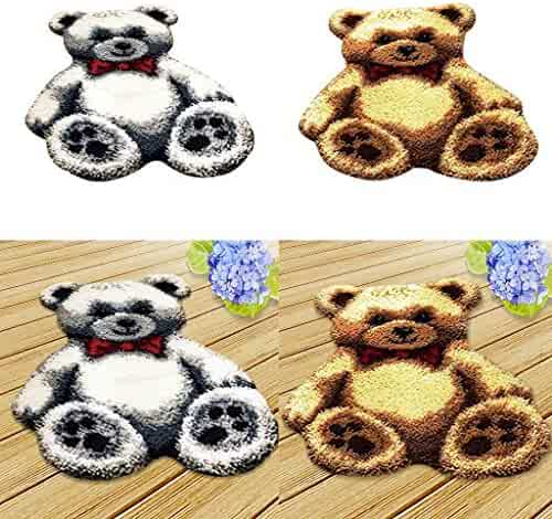 Prettyia Bears Swing Cross Stitch Stamped Kits Quilt Pre-Printed Cross-Stitching Patterns for Beginner Kids Adults Embroidery Crafts Needlepoint Starter Kits