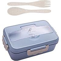 Fiambrera bento de trigo natural, sin BPA, caja de sándwich con 3 compartimentos y cubiertos, caja de almuerzo de paja…