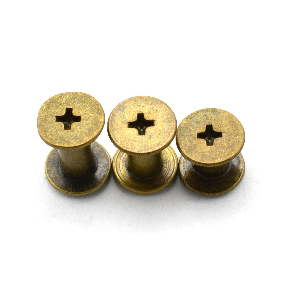 LQ Industrial 90 Sets Black M5 Chicago Screw Assorted Kit Phillips Head Button Stud Screws Nail Rivet For DIY Leather Craft M5x6 M5x10 M5x12 4336864001
