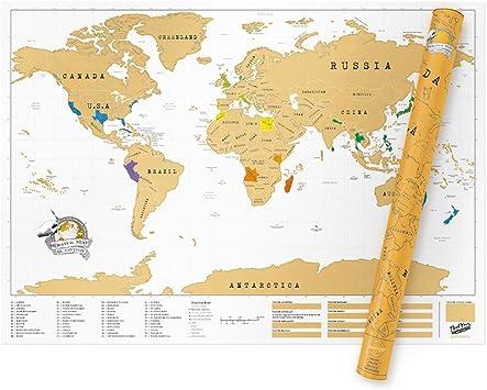 Das Original Scratch Map Wahl Luckies of London Weltkarte zum Rubbeln 2