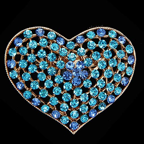 Price comparison product image Gorgeous Crystal Rhinestone Love Hearts Brooch Pins Costume Jewelry / Color - Blue