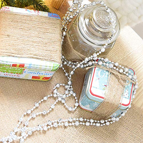 Vpang Round Crystal Pearls Beads String Garland for Christmas, Valentine, Exhibition, Wedding, Party, DIY Craft, Home Decoration, 16 ft (Silver)