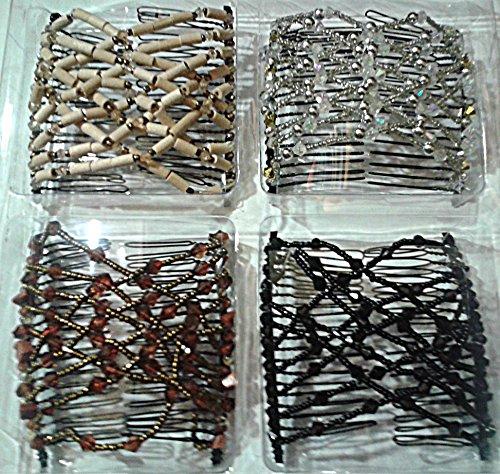 EZ Combs Fabulous Hairstyles Instantly 4 Piece Set Bermuda Black Caramel Bronze Dazzling Silver Sahara Sandalwood