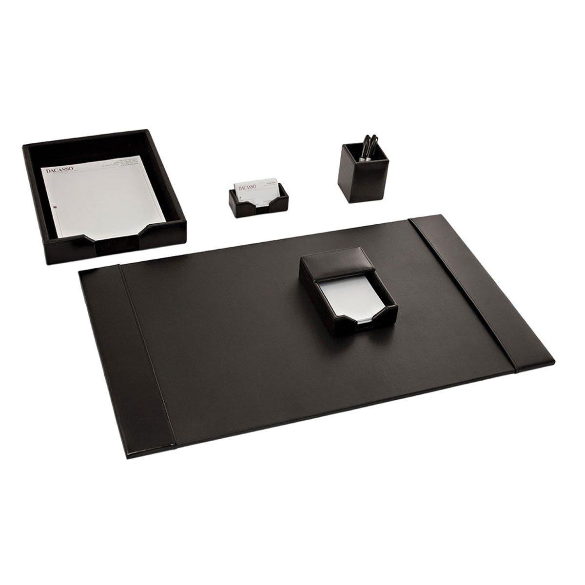 Dacasso Black Bonded Leather Desk Set, 5-Piece D1402