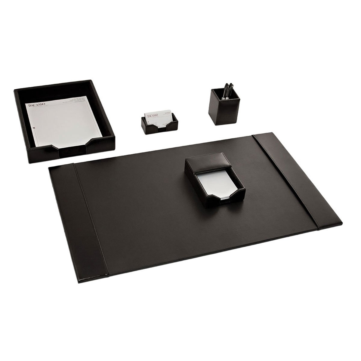 Dacasso Black Bonded Leather Desk Set, 5-Piece