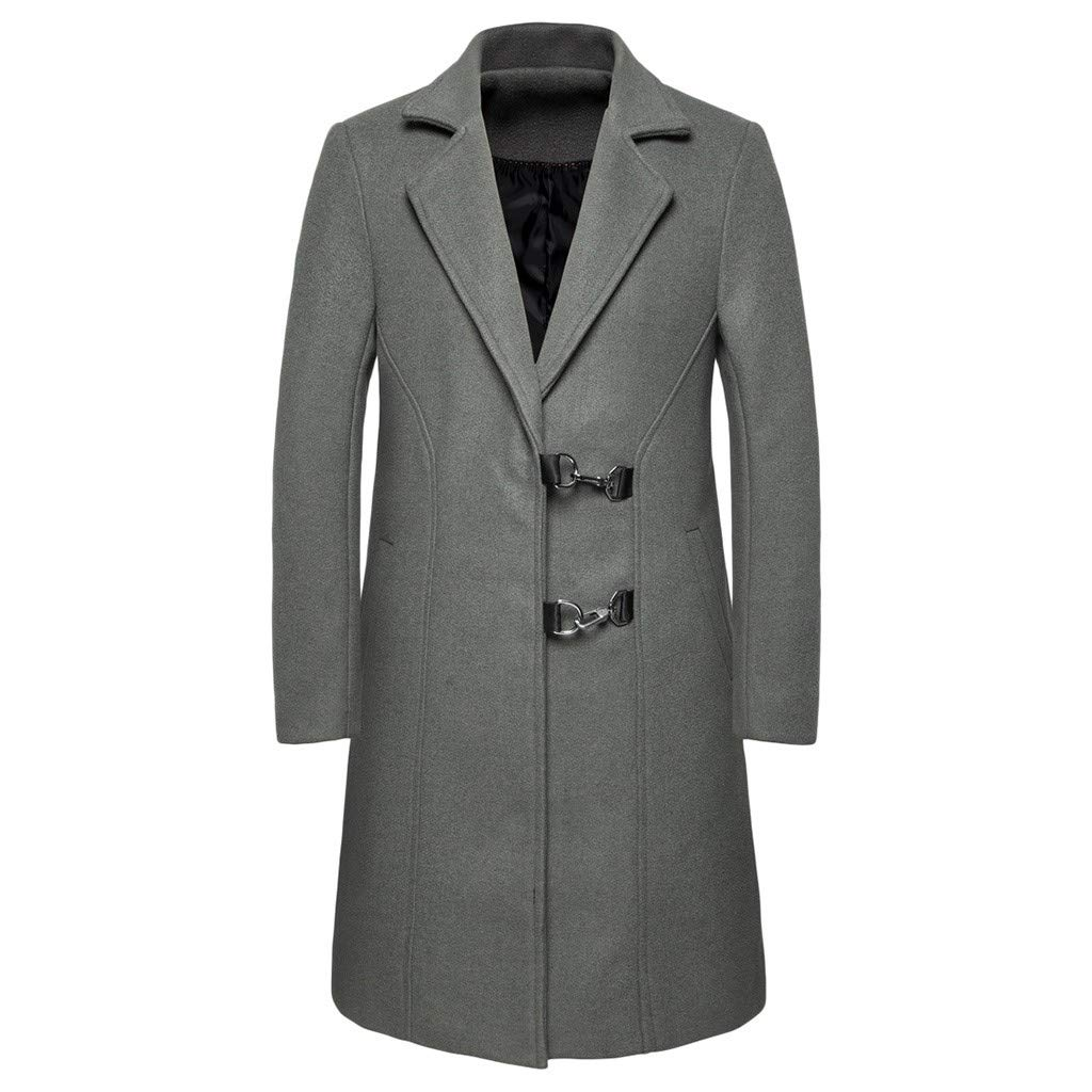 Allywit-Mens One Breasted Trench Coat Business Casual Windbreaker Mid-Long Jacket Overcoat Gray