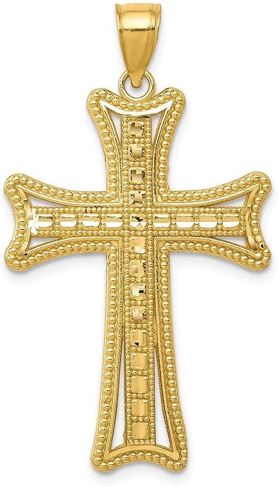 Beautiful Yellow gold 14K 14k Diamond-cut Cross Pendant