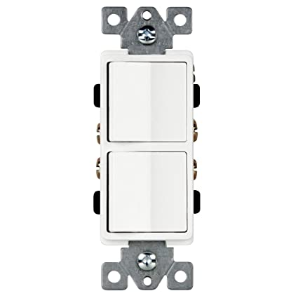 enerlites double paddle rocker decorator combination switch, singleenerlites double paddle rocker decorator combination switch, single pole, residential grade, side