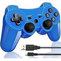 Bluetooth Wireless Controller pour manette PS3 Double Frappe Gamepad & Manette pour Playstation 3 Bonus sans cable de charge Rot(bleu)