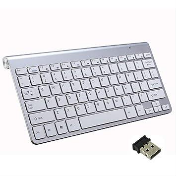 LMDZSW Para Notebook/TV Box/pc Teclado y Mouse inalámbricos Capacitiva Ultra Delgada 2.4 GHz Juego inalámbrico para ratón Juego de Teclado portátil, un Llavero Plateado: Amazon.es: Electrónica
