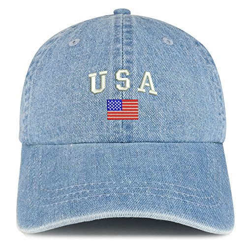 Trendy Apparel Shop American Flag and USA Embroidered 100% Cotton Denim Cap Dad Hat - Light Blue -