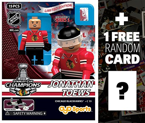Jonathan Toews - Chicago Blackhawks (2015 Stanley Cup Champions): NHL x OYO Sportstoys Minifigure Series + 1 FREE Official NHL Trading Card Bundle