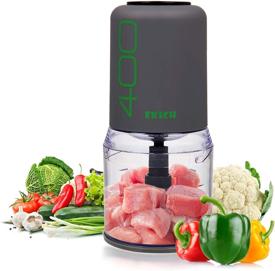 EKICH Food Chopper Electric Mini Meat Grinder with Sharp Blades and 2 Cup Capacity Vegetable Processor for Onion Nuts and Fruit 500ml 4blades, Grey