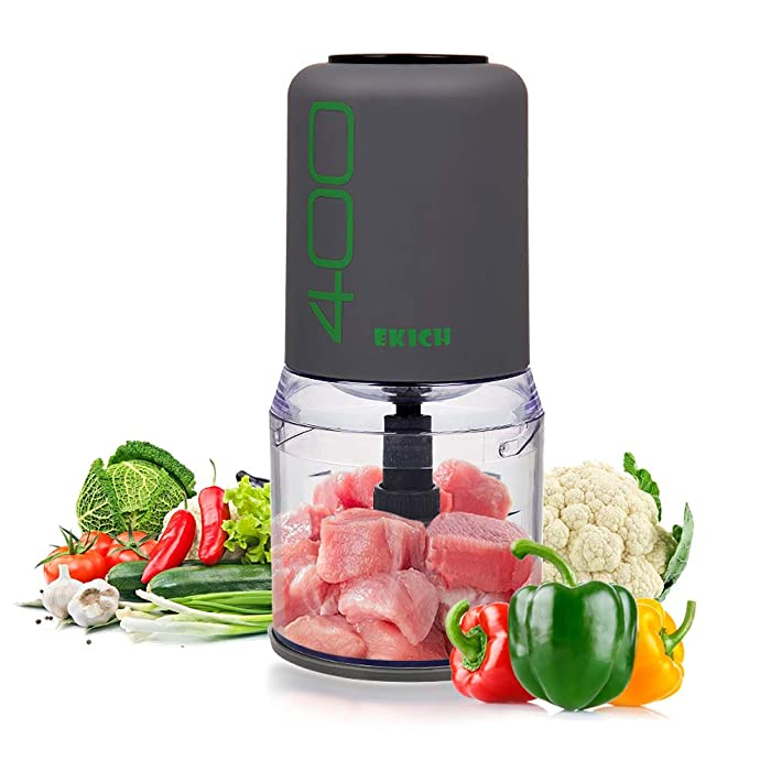 EKICH Multipurpose Food Chopper 400 W Mini Onion Processor 16-Ounce Capacity Meat Grinder Vegetable Onion Fruit Blender Mincer Slicer (Gray)