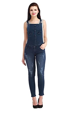 d5703af43ef Jubination Ladies Damaged and Repaired Skinny Fit Classic Blue Denim ...