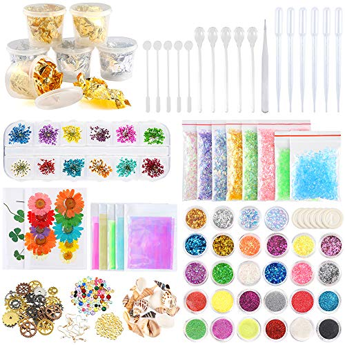 Sntieecr 125 Pieces Resin Jewelry Making Big Supplies Kit with Glitter, Sequins, Mylar Flakes, Dry Flowers, Beads, Wheel Gears, Foil, Glass Stone, Shell, Iridescent Film for Nail Art and Craft Making