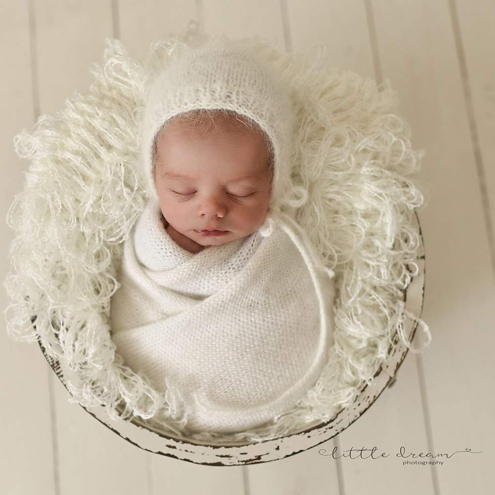 D&J Handcraft Newborn Photography Props Blanket Baby Photo Basket Props Stuffer Filler Mat, Crocheting Soft Total Diamater 22inch