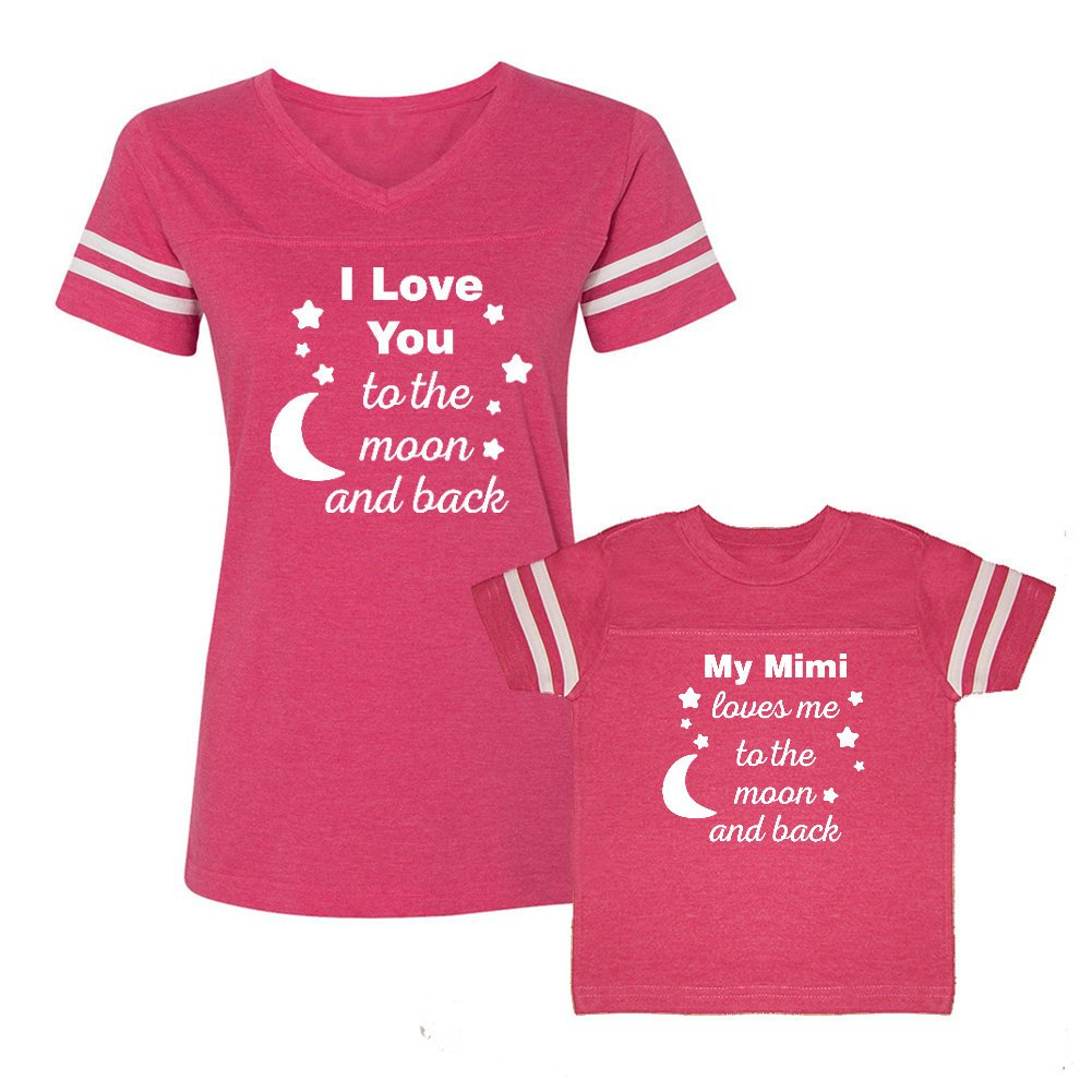 We Match!! - My Mimi Loves Me to The Moon and Back - Matching Women's Football T-Shirt & Kids T-Shirt Set (YTH X-Large, Women's 2XL, Hot Pink, White Print) by We Match!
