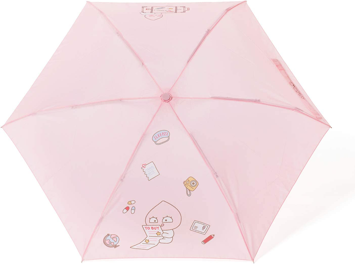 KAKAO FRIENDS Official- Ultra Compact Folding Travel Umbrella with Cover (Apeach)