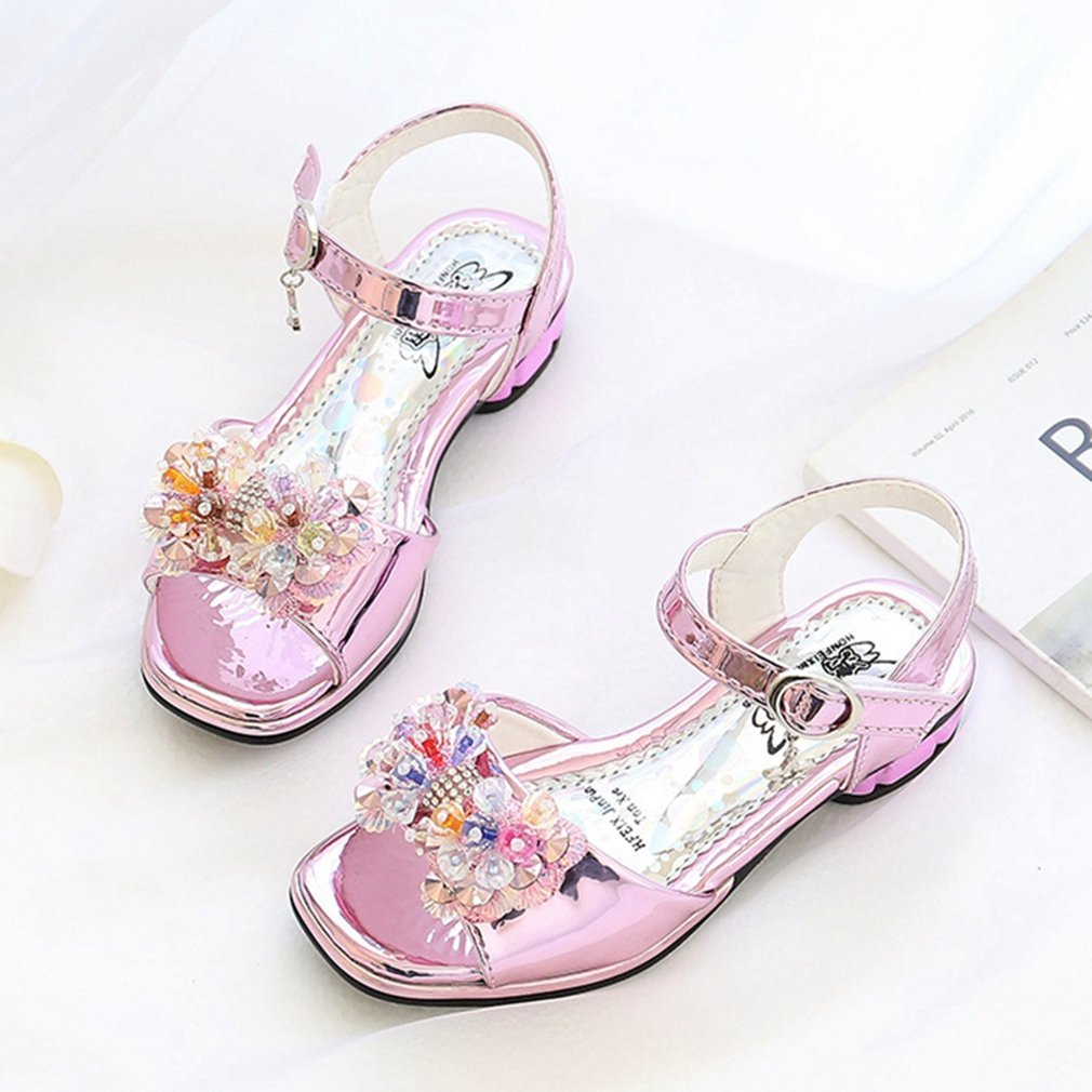 Toddler//Little Kid CYBLING Kids Girls Open Toe Rhinestone Bow Sandals Summer Princess Low Heel Shoes