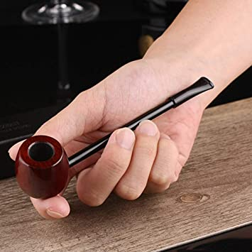Amazon com: KYSUN Straight Tobacco Smoking Pipe Red Wood