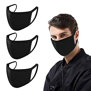 Mouth Masks, Ruphance Unisex Adult Cotton Blend Ear Loop Face Mask, Anti Dust Warm Ski Cycling Safety K-pop Fashion Mask Use for Women Man,Black (3 PCS)