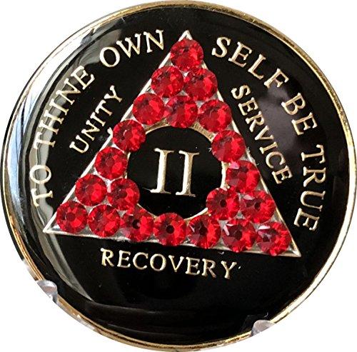 (2 Year AA Medallion Black Tri-Plate Siam Red Color Swarovski Crystal Chip II)