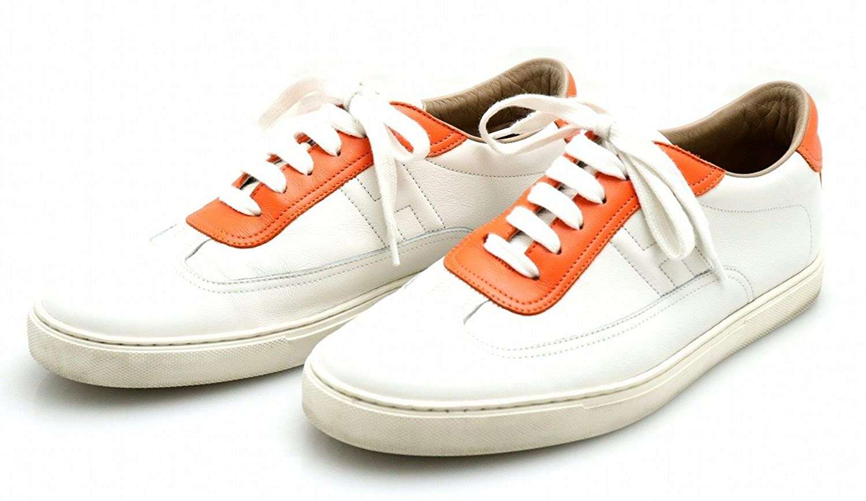 [エルメス] HERMES クイック スニーカー シューズ レザー #43 日本サイズ28 オレンジ 白 ホワイト B07DS13BXD