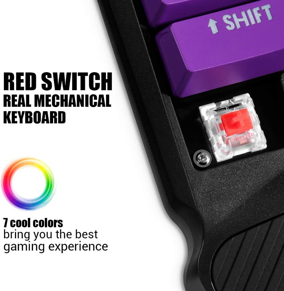 LICHUXIN One-Handed Mechanical Gaming Keyboard 34-Key Mechanical Shaft Ergonomic Design ABS Material USB Wired 7-Color Light Full Key Without Punch Suitable for LOL PUBG//Fortnite Games