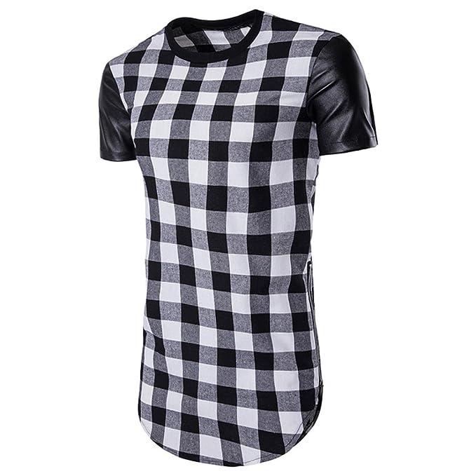zycShang Camisa de Cremallera de Tela escocesa de Manga Corta de Verano de Los Hombres Top