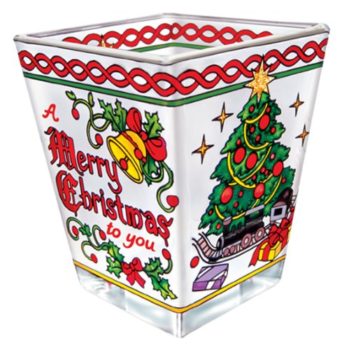 Amia Petite Votive, Hand-Painted Glass with Colorful Merry Christmas Design, 3 Inches Tall