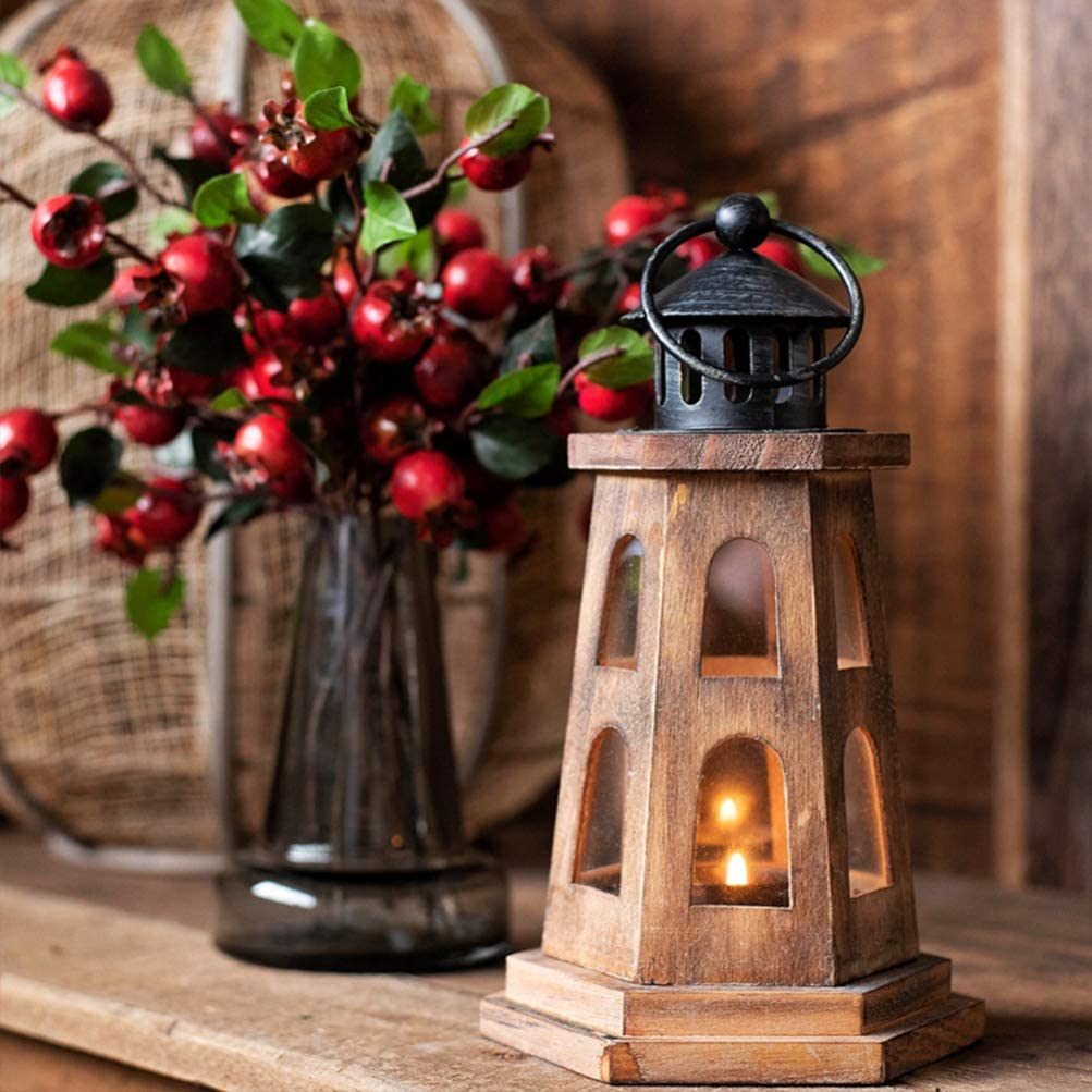 Mobestech Wooden Candle Holder Lighthouse Tea Light Holder Candle Lantern Decorative Table Lamp for Home Wedding Party Garden Decor